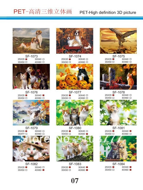 HD 3D stereoscopic paintings/3D picture/size30*40/Retail orwholesale /1076 cat and dog