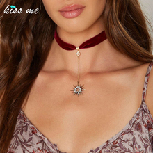 KISS ME Trendy Crystal Stars Pendant Red Ribbon Choker Necklace Hot Sale Women Jewelry Accessories(China (Mainland))