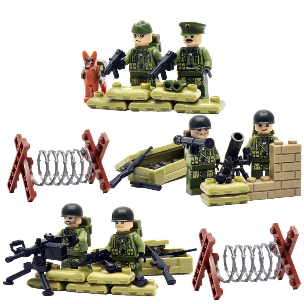 World War II Set US Commandos Brothers Team Marine Corps RPG Battlefield Minifigures Building Blocks Toys Compatible With LEGO<br><br>Aliexpress