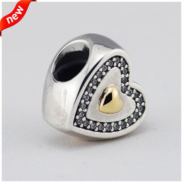 Аутентичные стерлингового серебра 925 14 KGold в форме сердца CZ камни бусины женщины DIY ювелирные изделия поиск подходит европейский бренд браслет