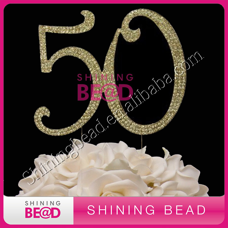 free shipping,golden number 50 rhinestone cake topper, hot sale number cake topper for anniversary party(China (Mainland))