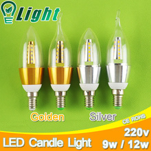 Buy Golden Silver 9w 12w E14 LED Candle Light Bulb Aluminum Shell Candle LED Bulb 220V Led Lamp E14 Cool Warm White Lampara 2835 for $1.37 in AliExpress store