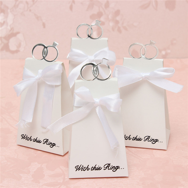 Hot Selling 20PCS/Lot Wedding Party Decorate White Diamond Ring Style Gift Box Candy Favors Paper Bag(China (Mainland))