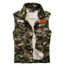 New Men's Camouflage Denim Vest Men Camo Brand Clothing Male Jeans Waistcoat Man Sleeveless Jackets Plus Size M-4XL,LA032