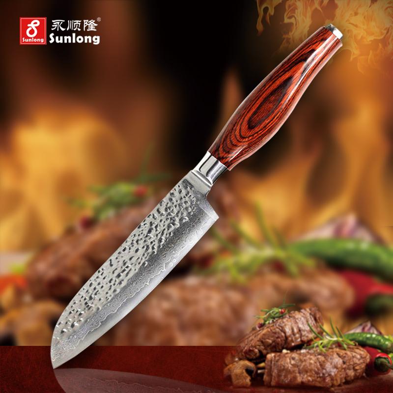 5 inch sharp Santoku Knife chef knife Damascus steel tools Japanese vegetable knife advanced color wood handle kitchen knives(China (Mainland))