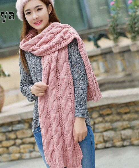 New coarse lines shawl Korean Korean female long winter days thicken knitted scarf knitted scarf twist(China (Mainland))
