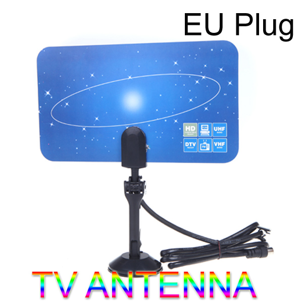 Digital Indoor TV Antenna HDTV DTV HD VHF UHF Flat Design High Gain EU Plug(China (Mainland))