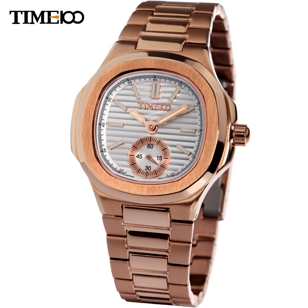 New time100 fashional two pointer luminescence rose golden color men 39 s watch for Luminescence watches