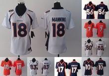 A+++ all stitched Women Lady Denver broncos ,#12 Paxton Lynch #18 Peyton Manning Demaryius Thomas Von Miller #10 #7 #17(China (Mainland))