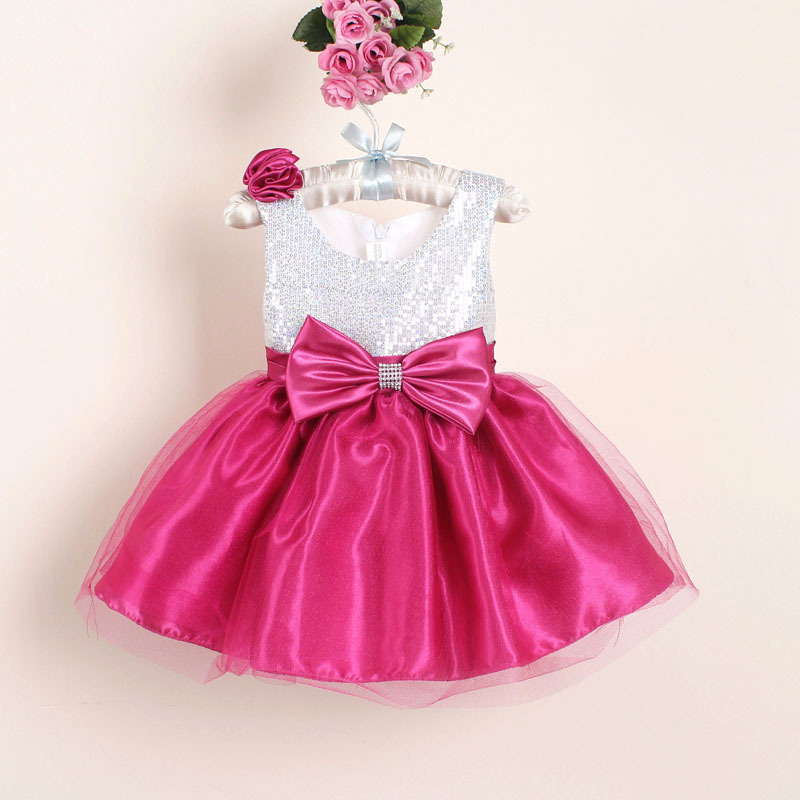 hot-selling Christmas toddler Girl Party Dresses with Bow novelty Sequined Baby wedding Dress for first commnication(China (Mainland))