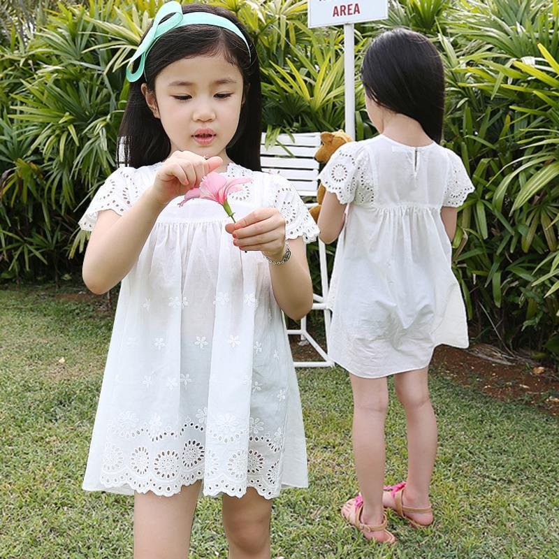 2016 new summer girls cotton lace dress kids children clothes white embroidery lace dress princess korean cute mini dress 3-10T(China (Mainland))