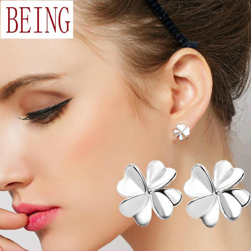 2016 Fashion Summer Style Silver Plated Earrings Lucky Four Clover Stud Earrings Heart Shape Petal Piercing Earring(China (Mainland))