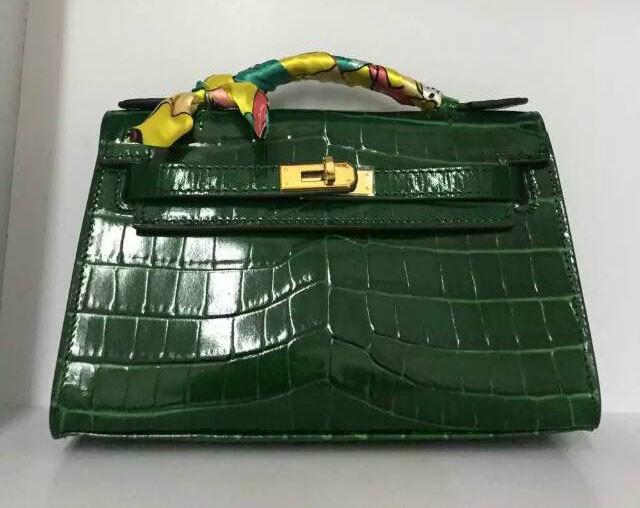 EMS Free Shipping High Quality Women Alligator Handbags Crocodile Print Genuine Leather Mini 22CM Clutch Bag With Gold Hardware<br><br>Aliexpress