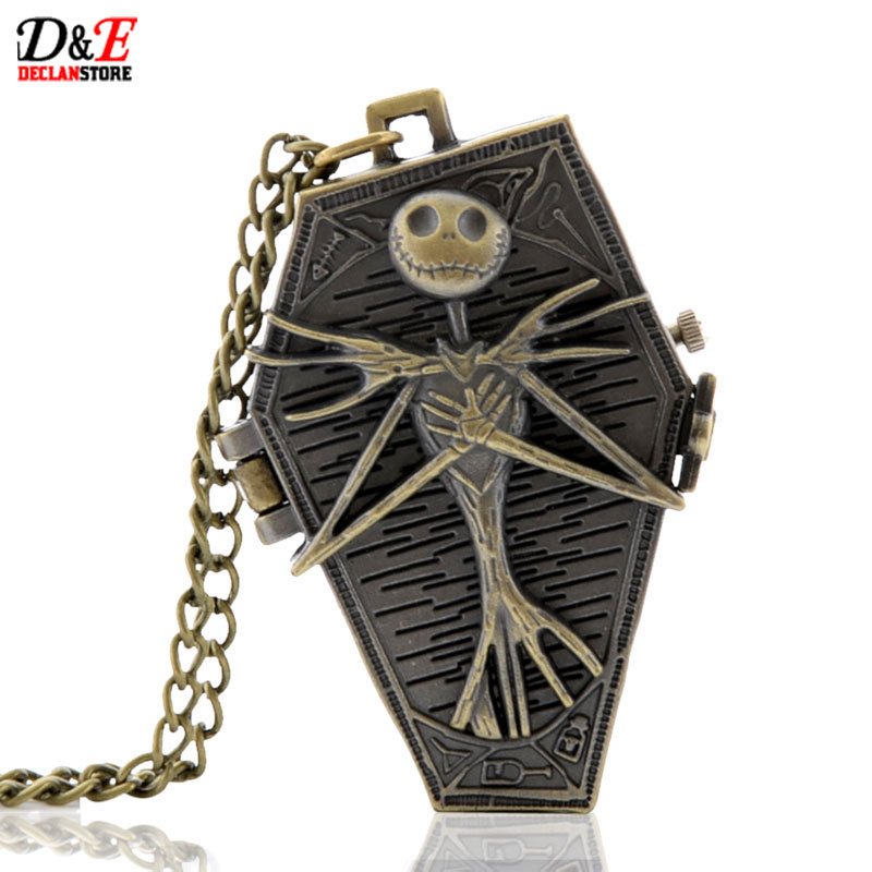 2016 New Fashion Nightmare Before Christmas Locket Necklace Pocket Watch Steampunk Pendant Gift Fast Shipping(China (Mainland))