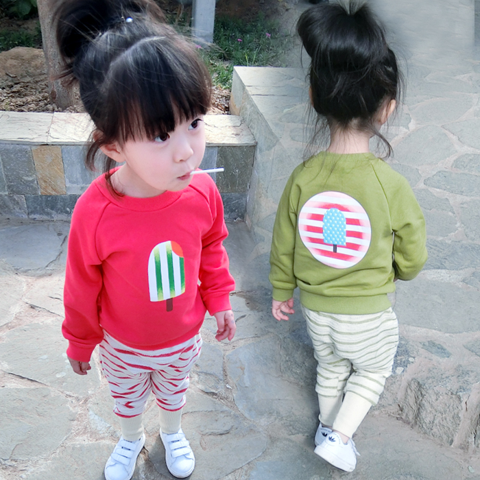 Kids Girls spring 2016 new suit 1234 years old baby clothes children sweater two piece spring pants<br><br>Aliexpress