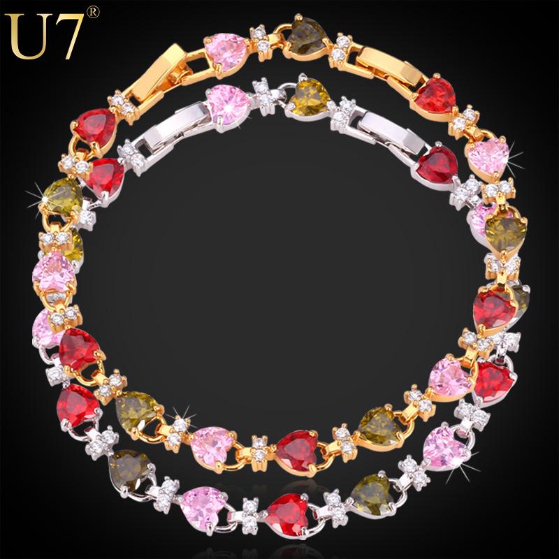 Браслет-цепь 18K U7 H515 u7 2016 новая мода силиконовая и нержавеющая сталь браслет мужчины изделий 18k позолоченный браслеты