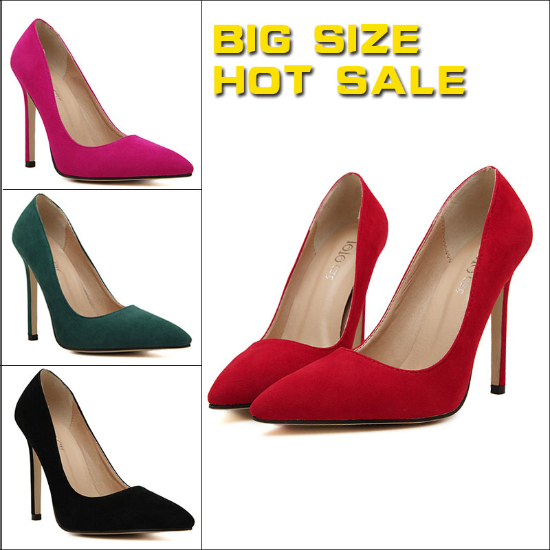 Plus size 43 Women Pumps 2015 Party Shoes Pointed Toe High Heels Flock Shoes Woman High Heels Women Shoes Heels Zapatos Mujer(China (Mainland))
