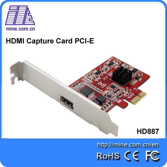 Mine HD887 h.264 real time 1 channel pci express card 1080P 30fps surveillance audio/video capture card/ dvr card(China (Mainland))