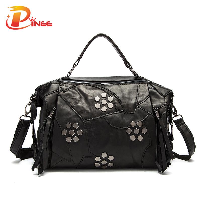 Superior Sheepskin Material Plaid Bag Genuine Leather All-match Pillow Shoulder Messenger Bag(China (Mainland))