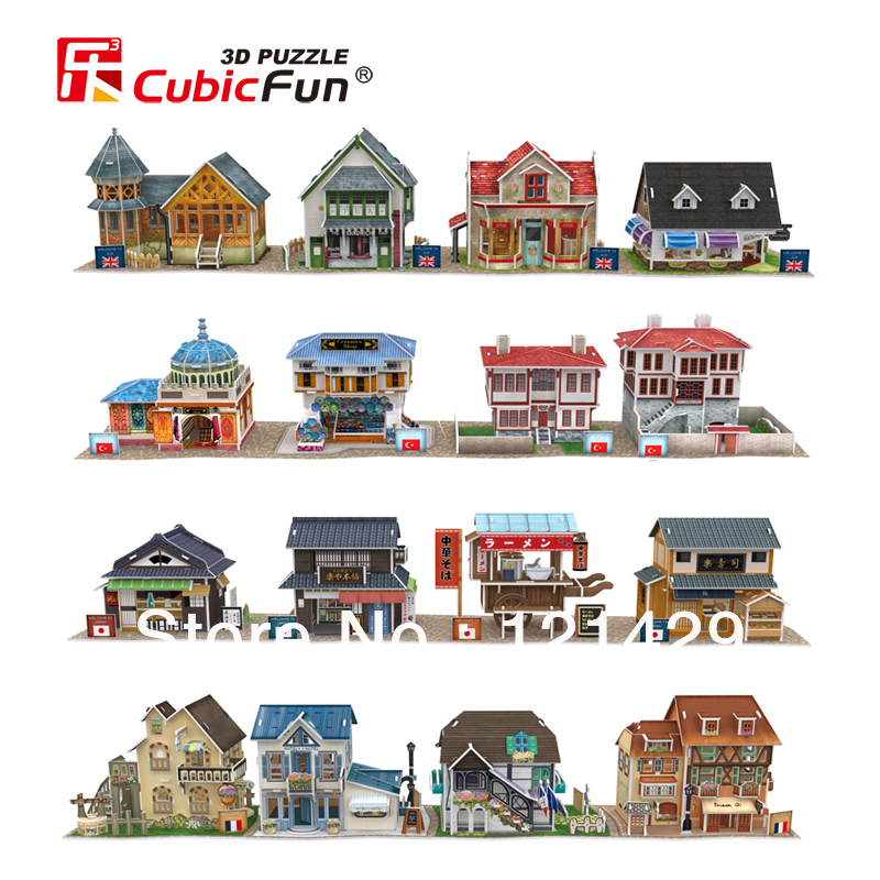 2014 new cubic fun 3D puzzle jigsaw world village construction 24 styles 10pcs/lot kids educational toy free shipping(China (Mainland))