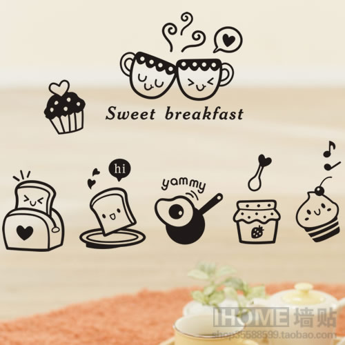 Removable wall stickers Happy breakfast Kitchen Restaurant Table Wall stickers Kitchen decoration Home decoration Wallpaper(China (Mainland))