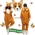 Adult Animal Welsh Corgi Dog Onesies Fleece Kigurumi Pajamas Cosplay Sleepwear