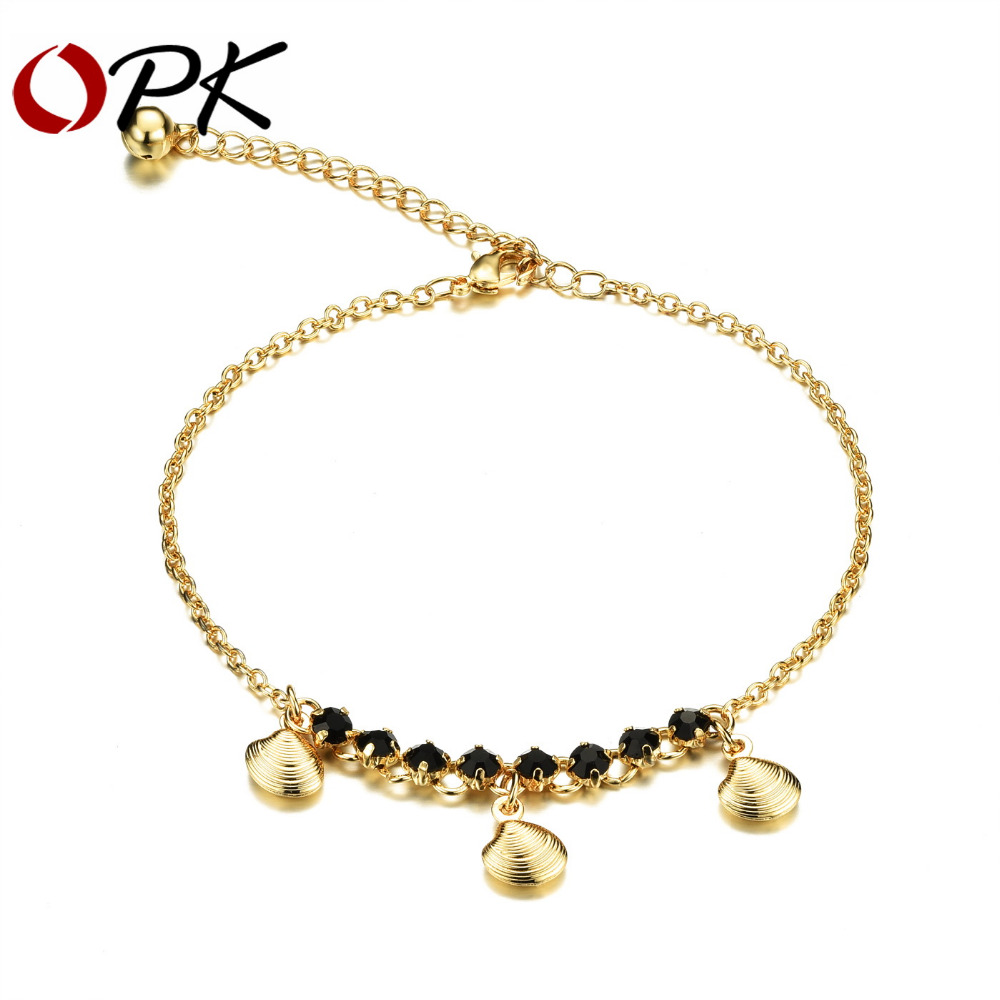 OPK Woman 18K Gold Plated Anklet New Fashion Black Cubic Zirconia Women Ankle Jewelry Cute Shell Design Ankle Bracelet KZ738(China (Mainland))