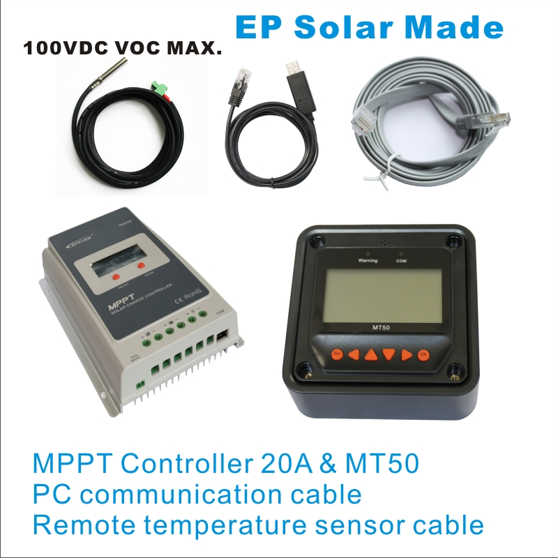 20A 12V 24V New Tracer2210A Programmable MPPT Solar Charge Controller  MT50 LCD Panel meter PC communication remote temperature<br><br>Aliexpress