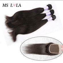 Peruvian Virgin Hair With Closure 3 Bundles With Lace Closure Human Hair Weave 6A Peruvian Virgin Hair Straight Free Shipping