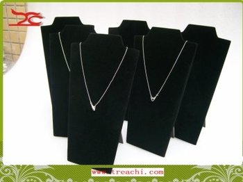 Foldable Jewelry Display Stands Black Velvet Necklace Easels Chains  Pendant  Holder 22cm High 4pcs/lot