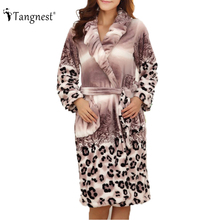 New 2016 Women Autumn And Winter Sleepwear Fashion Sexy Leopard Print Bathrobe Robe Long Style Gradient Color Lady Robes NSQ047(China (Mainland))