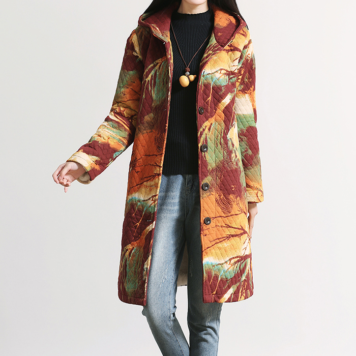 2015 new autumn winters cotton padded clothes female coat national wind printing long plus size 2XL