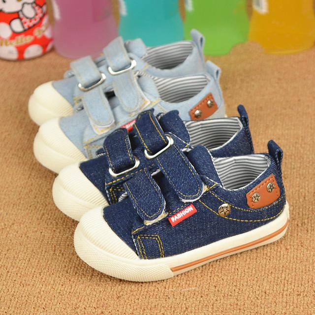 T2016 Весна Осень Дети Повседневная Обувь Холст Обувь Детская Обувь Мальчиков Дети Джинсовые Случайные Кроссовки Дети 21-25