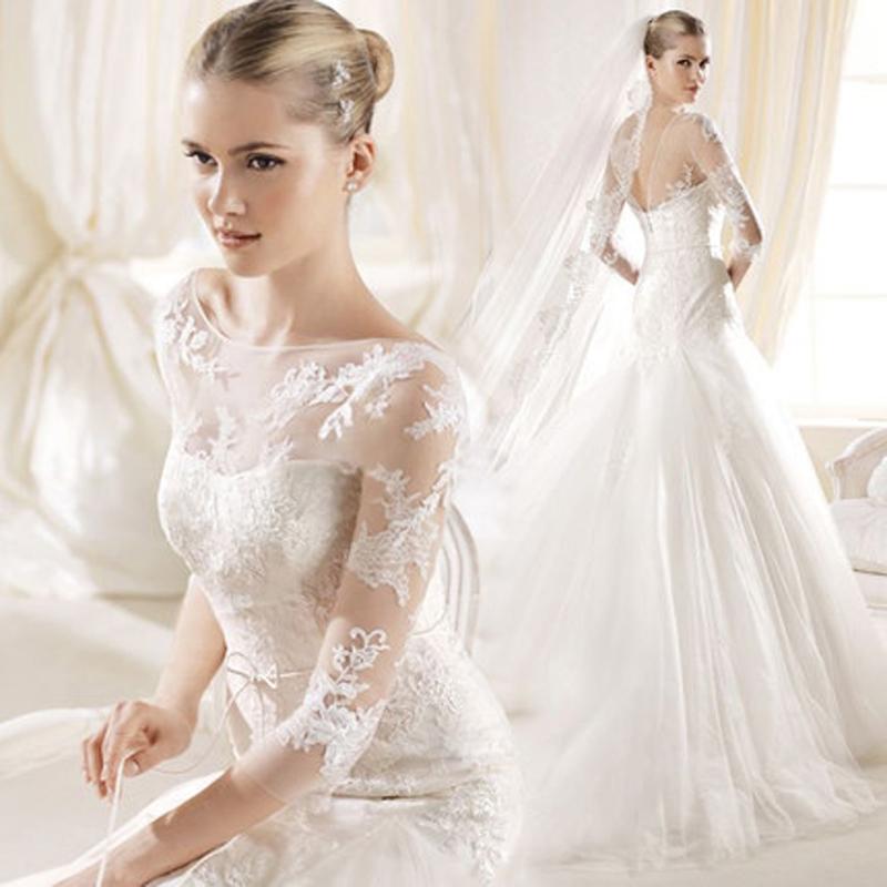 Wedding Dresses 3 4 Sleeves Lace : Lace mermaid long sleeves wedding dress patterns in