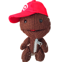 """1Pcs 7"""" Little Big Planet LBP 2 Sackboy Plush Red Cap Toy Cuddly Brown Funny Hat for Kids Boy Girl Doll Xmas Valentine Day Gift(China (Mainland))"""