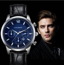 Relogios masculinos 2015 nueva moda cagarny pulsera reloj de hombre correa de cuero relojes para hombres relojes de reloj de cuarzo reloj ejército reloj reloj de regalo