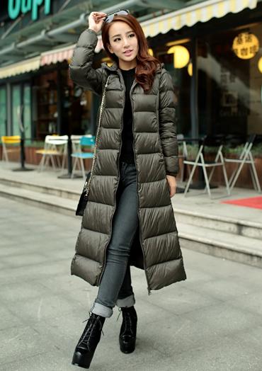 Фотография New 2014 Europe style winter women slim coat warm X- long hooded down jackets desigual brand full sleeve plus size xs-XXL W54