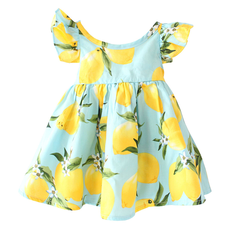 New Girls Dresses Summer 2016 Fly Sleeve Children Sundress Lemon Pattern Baby Girls Dresses Fashion Kids Clothes Christmas Gifts(China (Mainland))