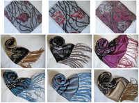 Burnout Velvet Silk Shawl Wrap Scarf LOTS DESIGN COLOR 13pcs/lot Christmas gift