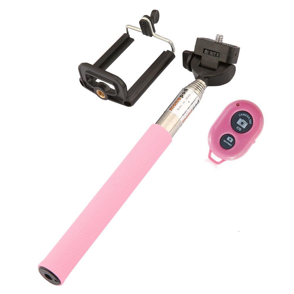 image for Extendable Self Selfie Stick Handheld Monopod + Clip Holder Wiress Blu