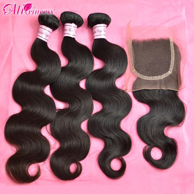 3 bundles closure ,100% virgin hair,brazilian body wave closure, - Princess hair products co.,LTD store