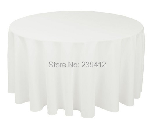 "108"" Round 190GSM White Polyester Plain Table Cloth for Weddings Events &Banquet &Party Decoration(China (Mainland))"