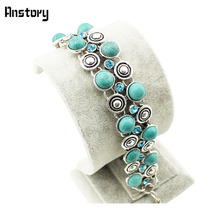 Vintage Look Tibet Alloy Antique Silver Plated Small Snail Bead Crystal Turquoise Bracelet B042(China (Mainland))