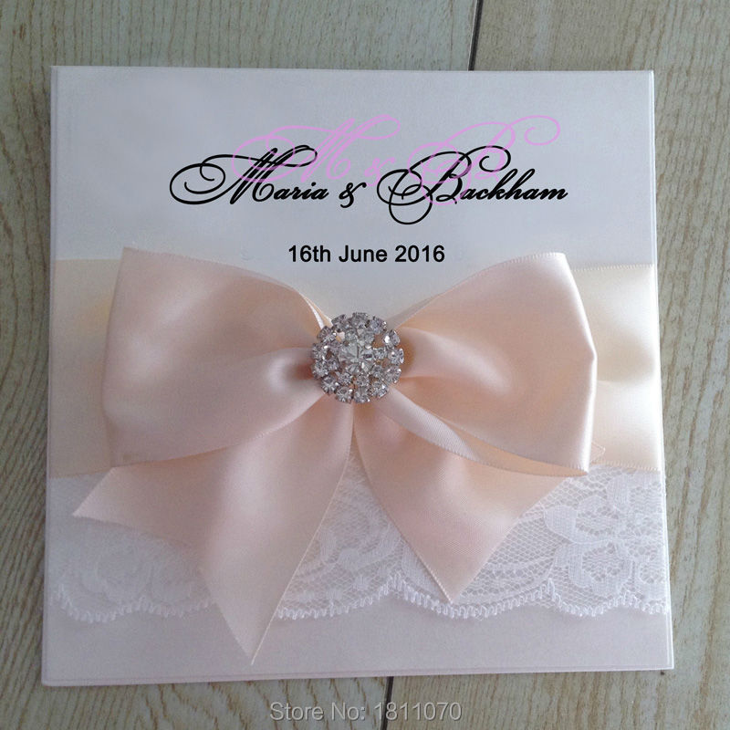 Elegant White Wedding Invitations With Pink Big Ribbon Bow,Lace And Buckles Embellishment Customized Wedding Cards LCPA018(China (Mainland))