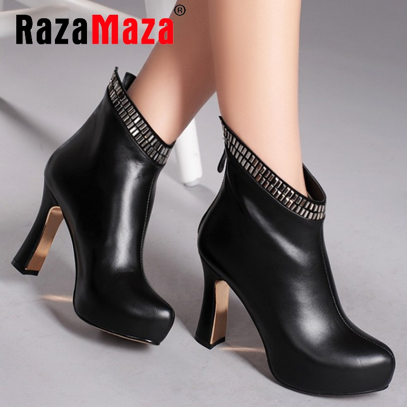 Фотография Free shipping ankle short natrual real genuine leather high heel boots women snow warm shoes R4624 EUR size 34-39