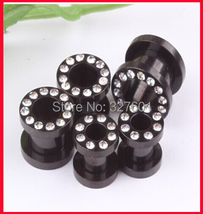 Europe and America style  Black  stainless steel set with crystal ear expander gauge cuff  mix 3-10mm 50pcs/lot   body  jewelry <br><br>Aliexpress