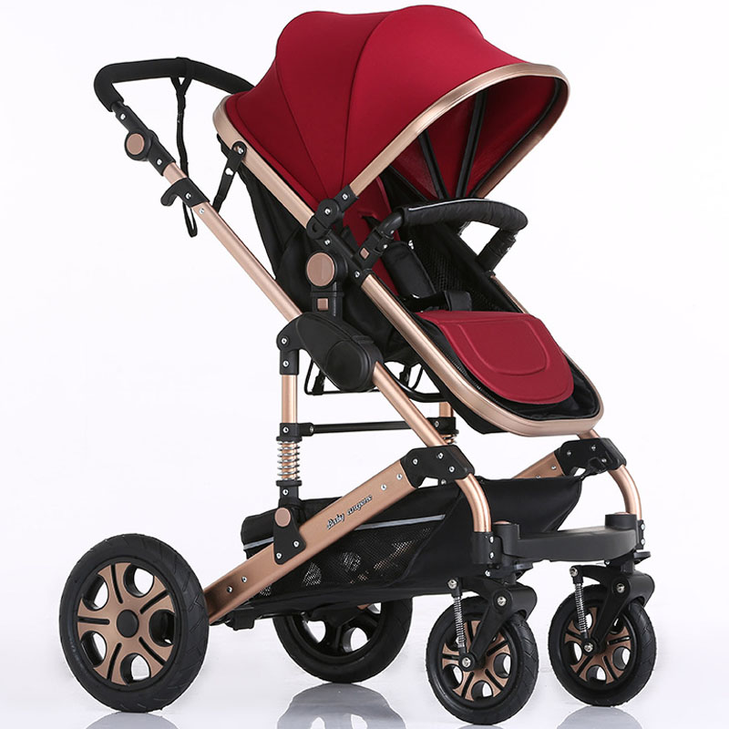 2016 New Luxury Baby Stroller Folding Baby Carriage High Landscape Sit and Lie for Newborn Infant Four Wheels 6 Colors(China (Mainland))