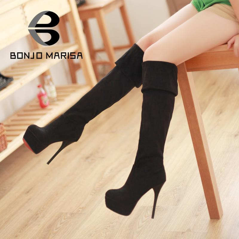 Spring Autumn Flock Ultra High Heels knee motorcycle boots women high heels platform Red Bottom pump shoes XB091