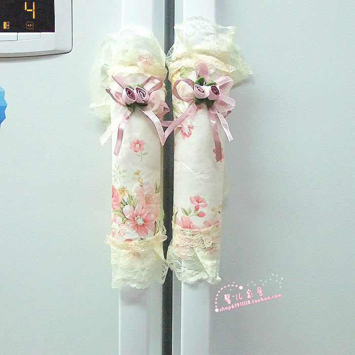 Fabric lace refrigerator door handle sets door handle sets gloves PINK MARY(China (Mainland))