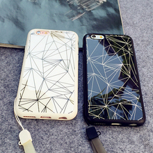 New 2016 Geometric patterns painted mobile phone shell acrylic mirror lanyard phone case For iphone 6S 6 plus free shipping